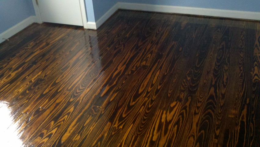 A refinished hardwood floor