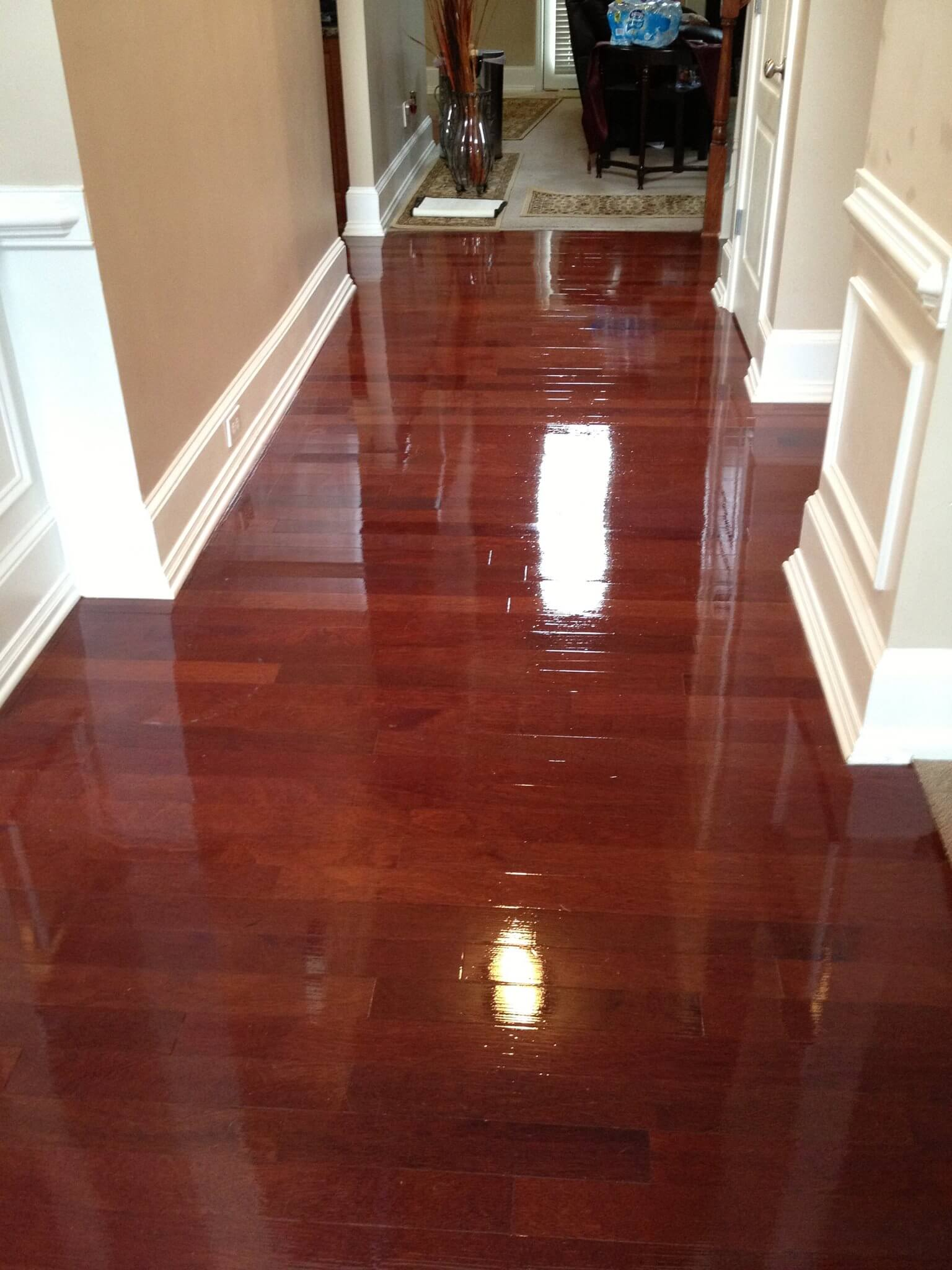 a refinished and completely restored hardwood floor