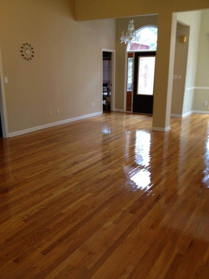 a resurfaced hardwood floor surface