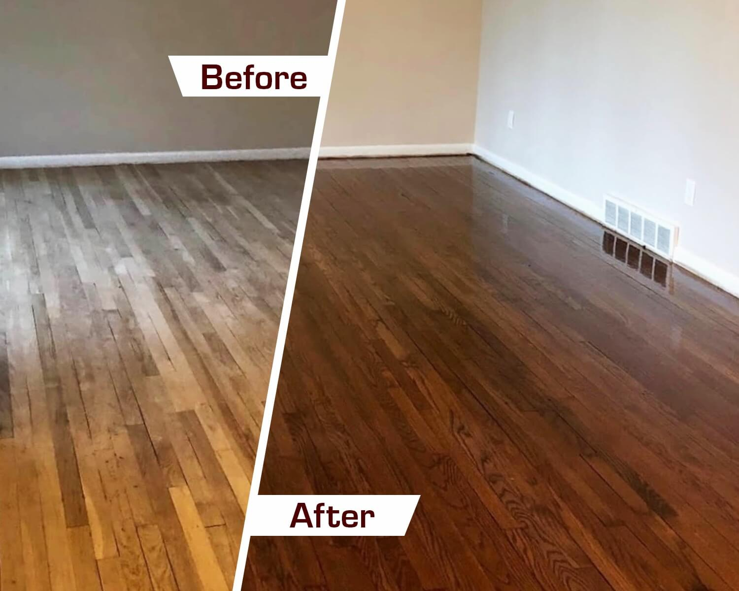 Before and after wood floor refinishing in orange county, ca