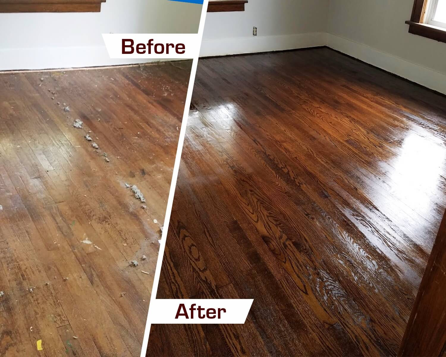 Before and after hardwood floor refinishing in orange county, CA