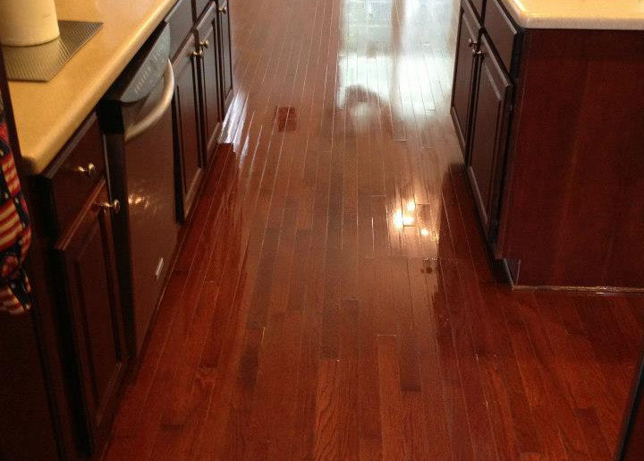 An after shot of a hardwood floor refinishing project