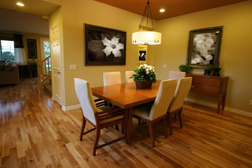 A yorba linda dining room with floors refinished by Fabulous Floors.
