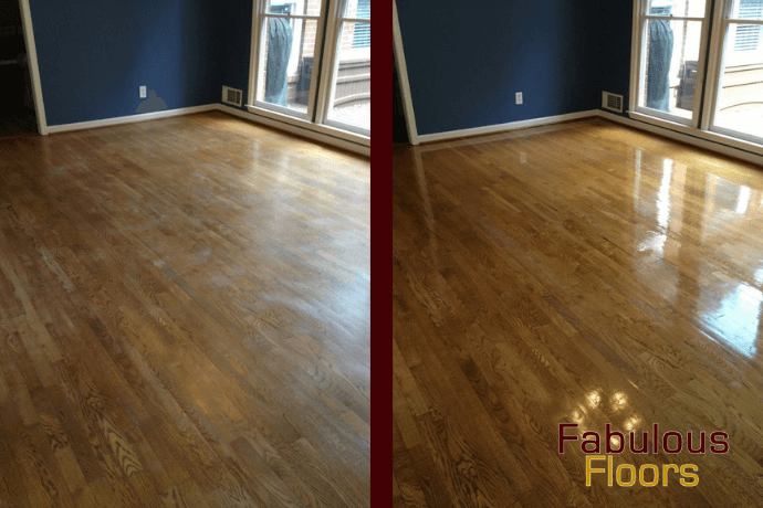 before and after hardwood floor refinishing in Yorba Linda, CA