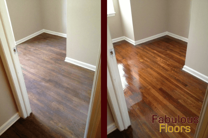 before and after hardwood floor refinishing in Costa Mesa, CA