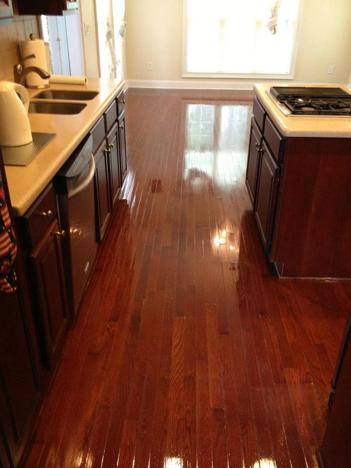 A recently refinished hardwood floor in an Irvine home